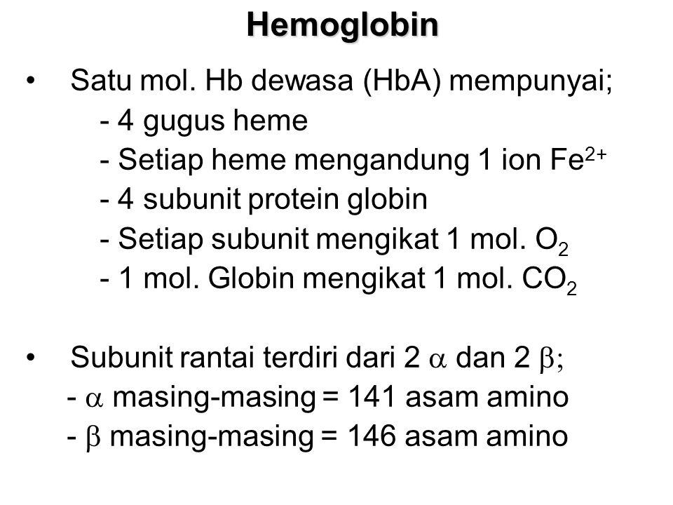 Hemoglobin Satu mol. Hb dewasa (HbA) mempunyai; - 4 gugus heme