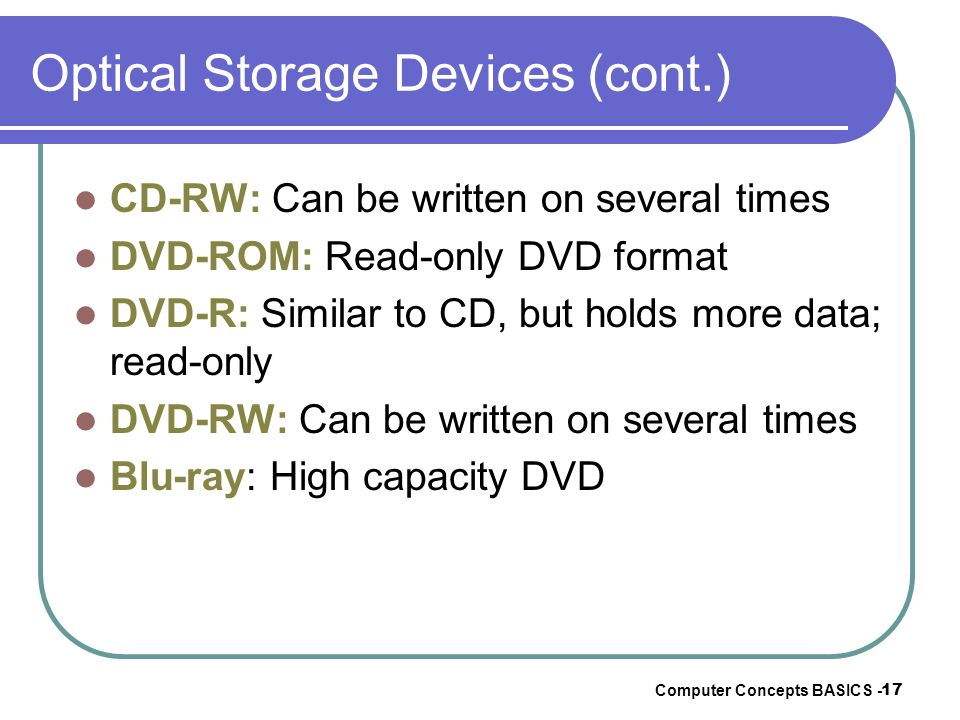 Optical Storage Devices (cont.)
