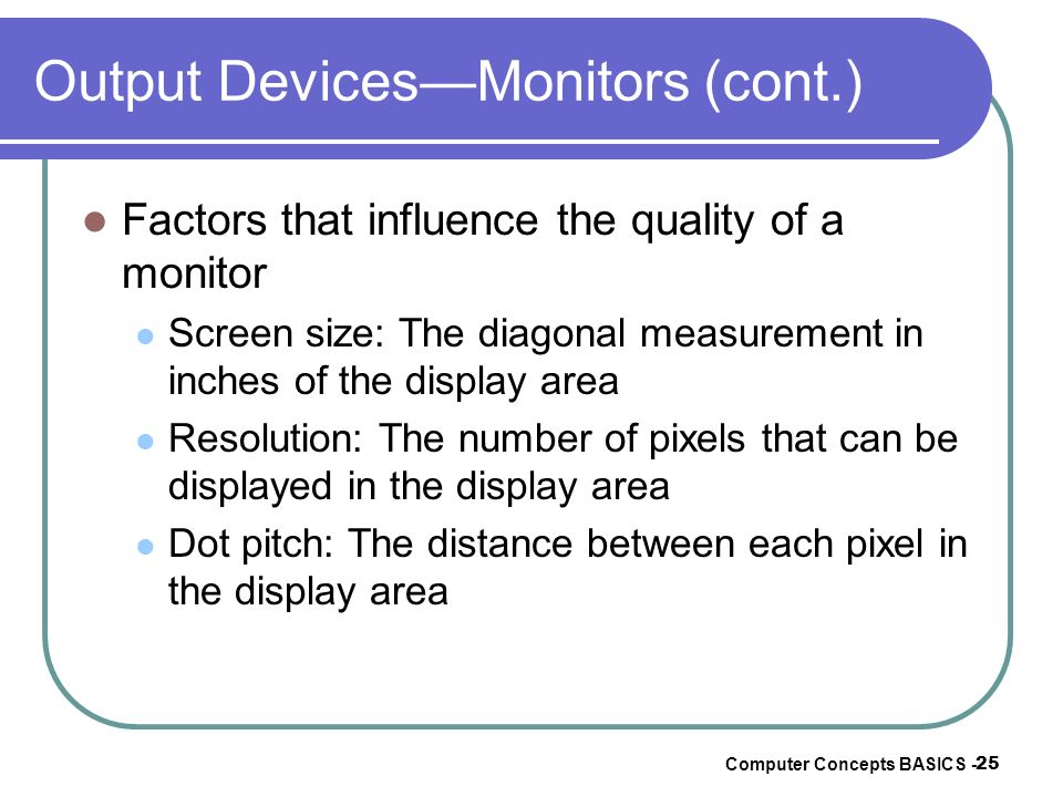 Output Devices—Monitors (cont.)