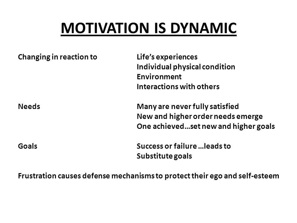 MOTIVATION IS DYNAMIC