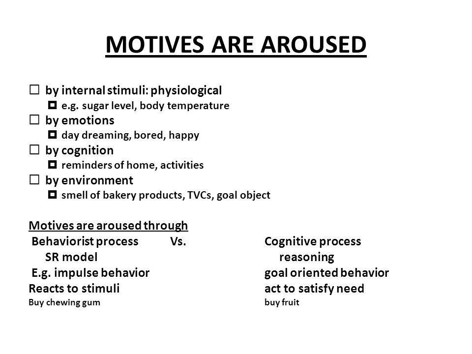 MOTIVES ARE AROUSED by internal stimuli: physiological by emotions