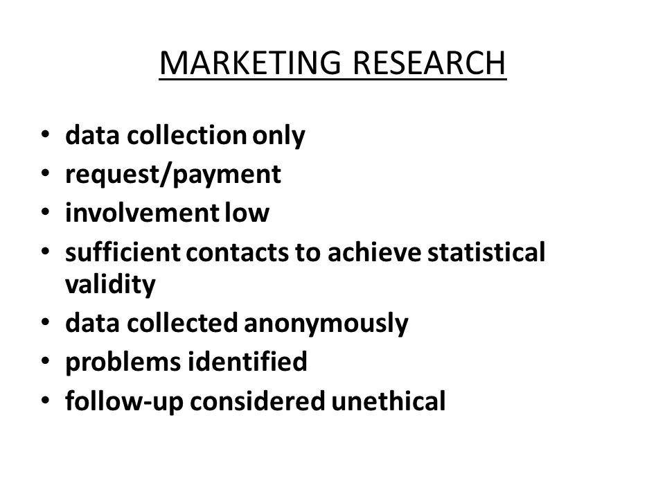 MARKETING RESEARCH data collection only request/payment