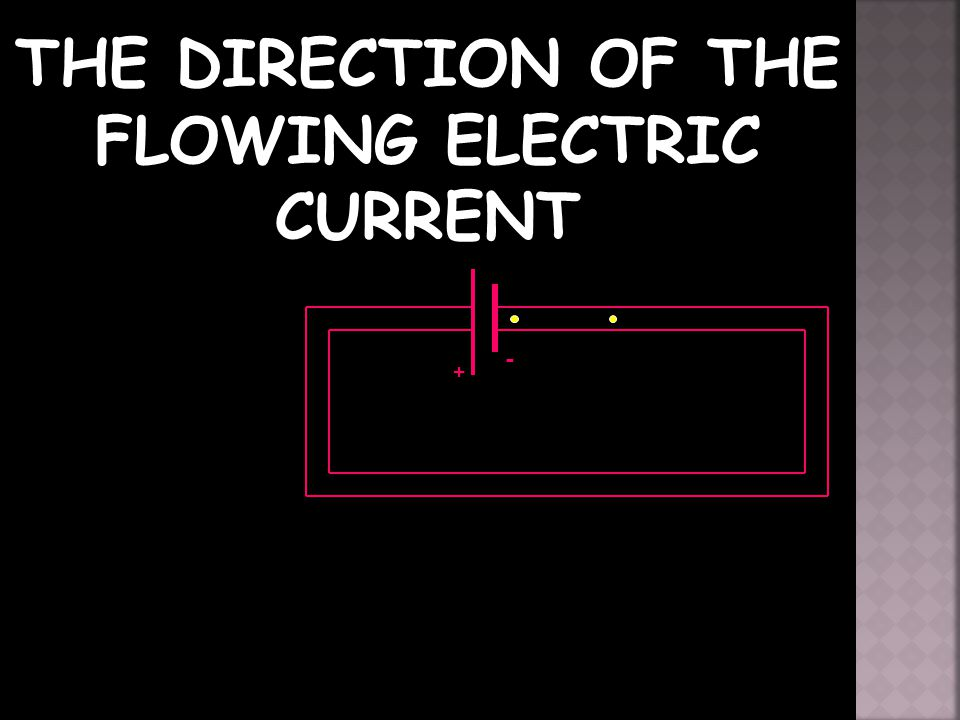THE DIRECTION OF THE FLOWING ELECTRIC CURRENT