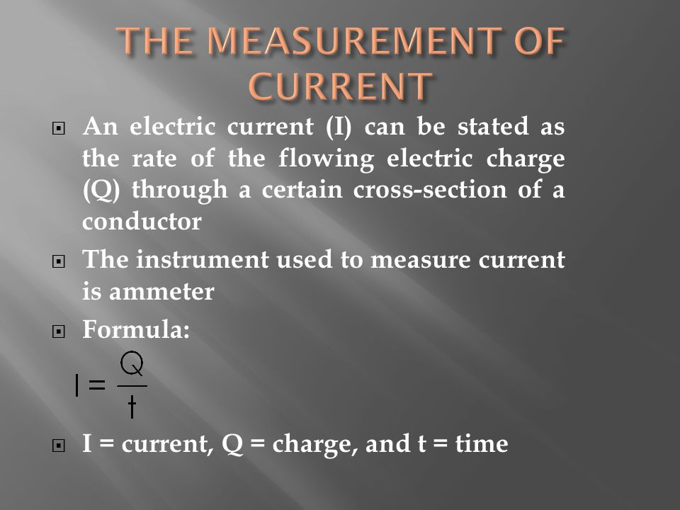 THE MEASUREMENT OF CURRENT