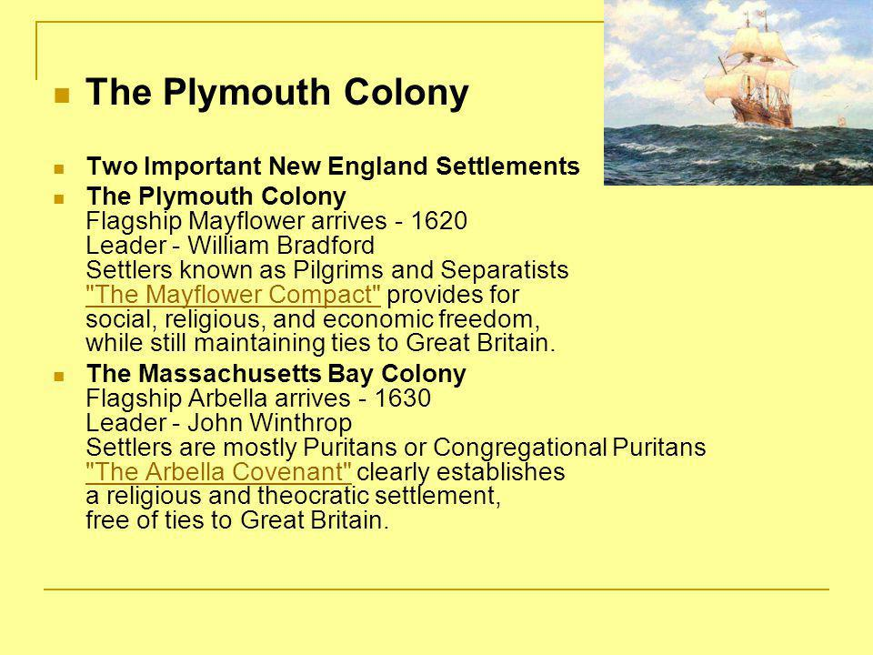 The Plymouth Colony Two Important New England Settlements