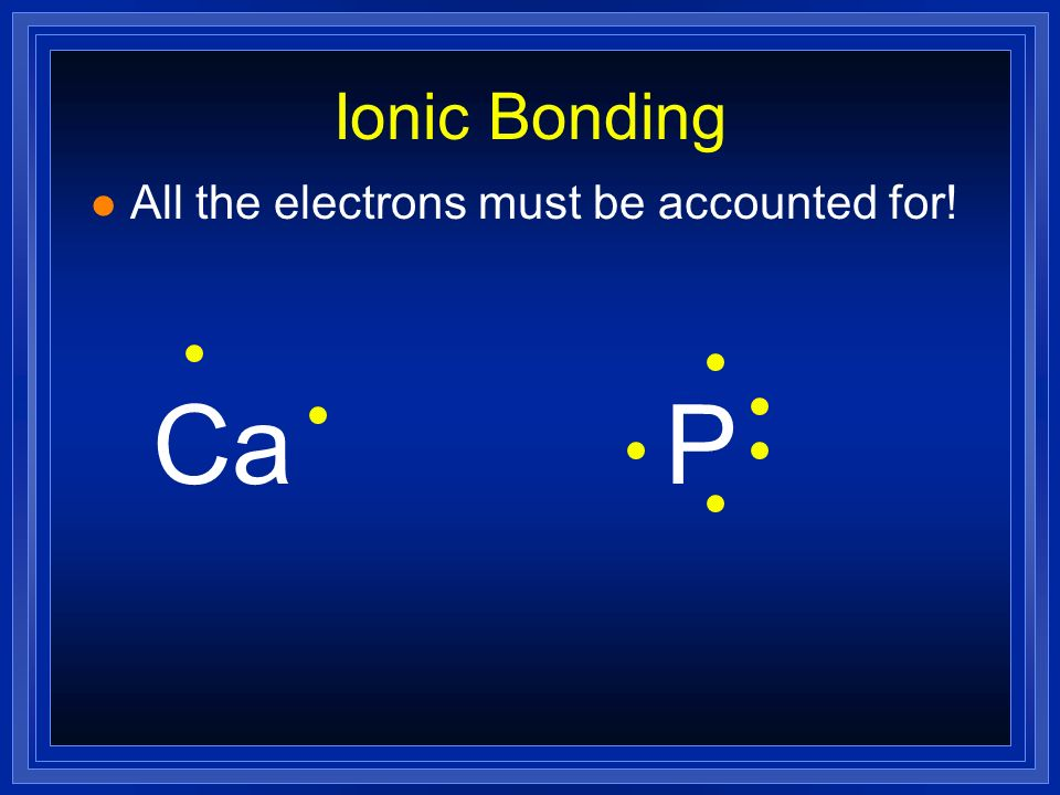 Ionic Bonding All the electrons must be accounted for! Ca P