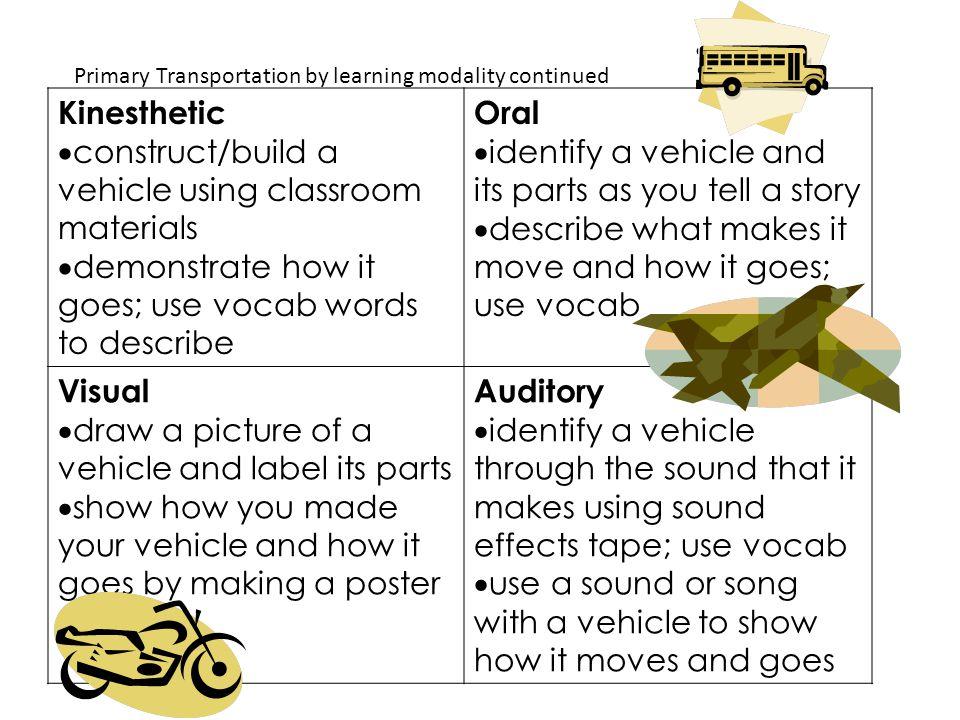 construct/build a vehicle using classroom materials