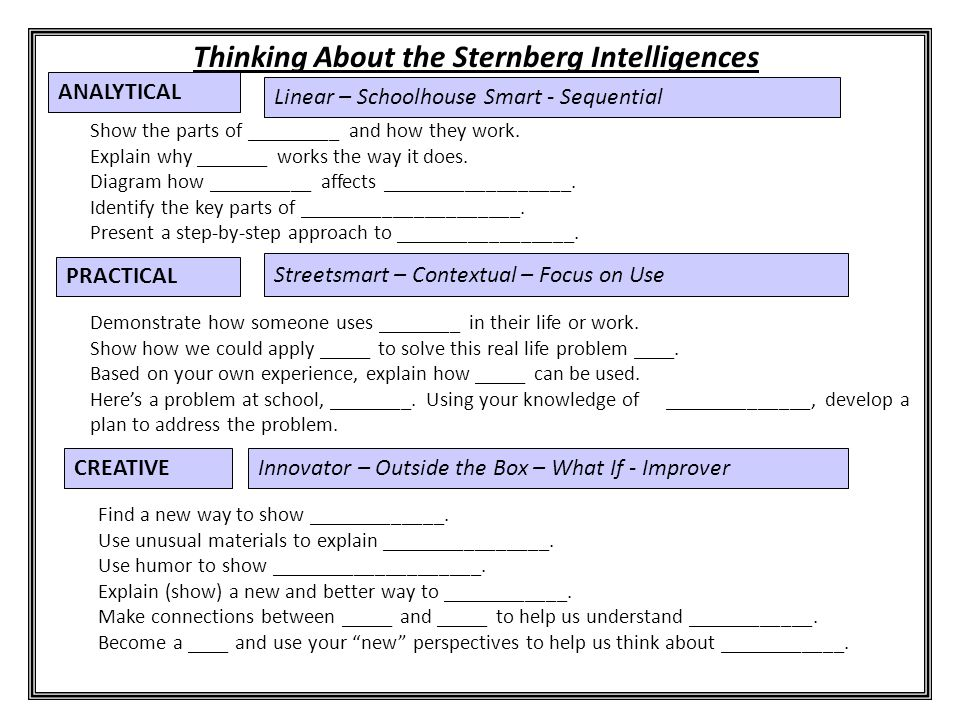 Thinking About the Sternberg Intelligences