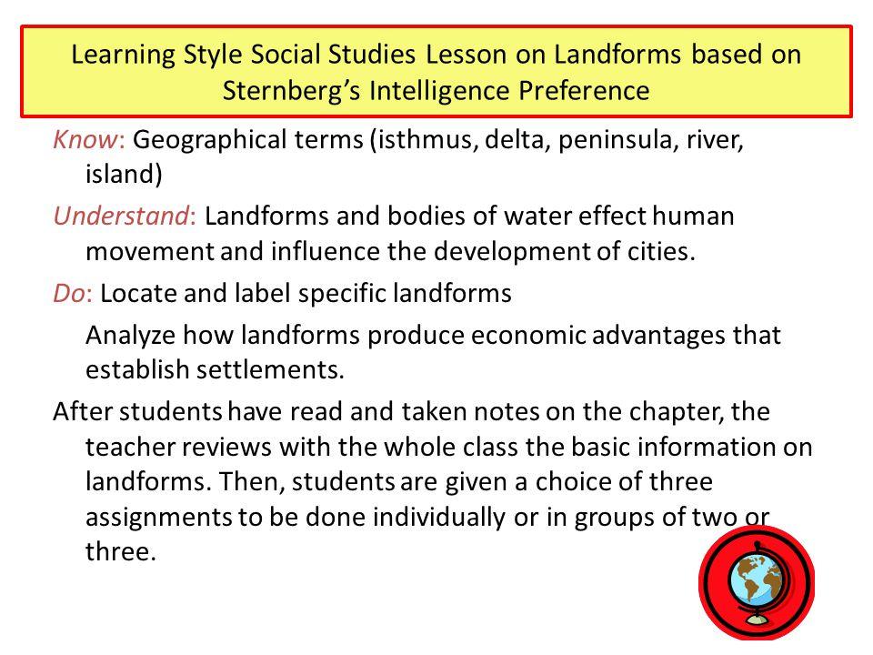 Learning Style Social Studies Lesson on Landforms based on Sternberg's Intelligence Preference