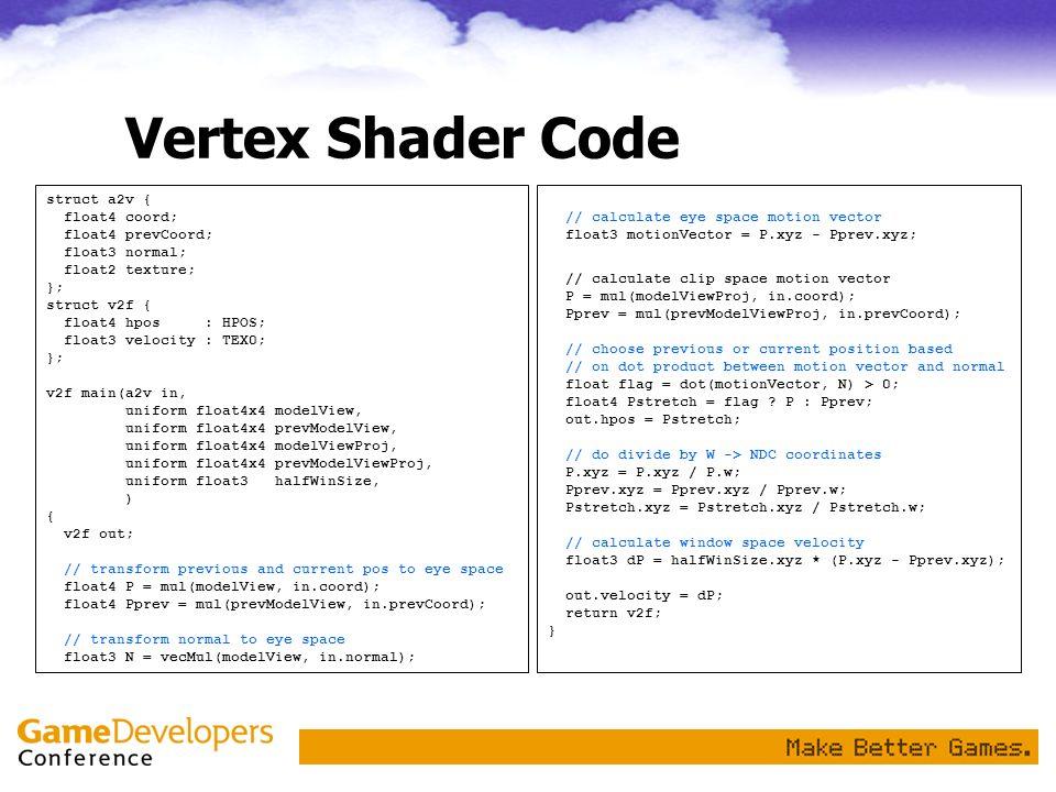 Vertex Shader Code