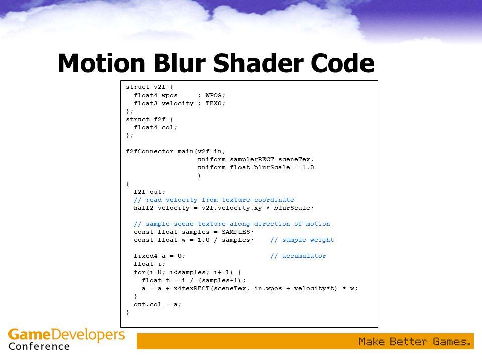 Motion Blur Shader Code