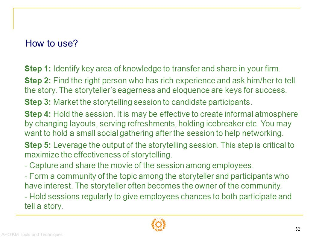 Storytelling How to use