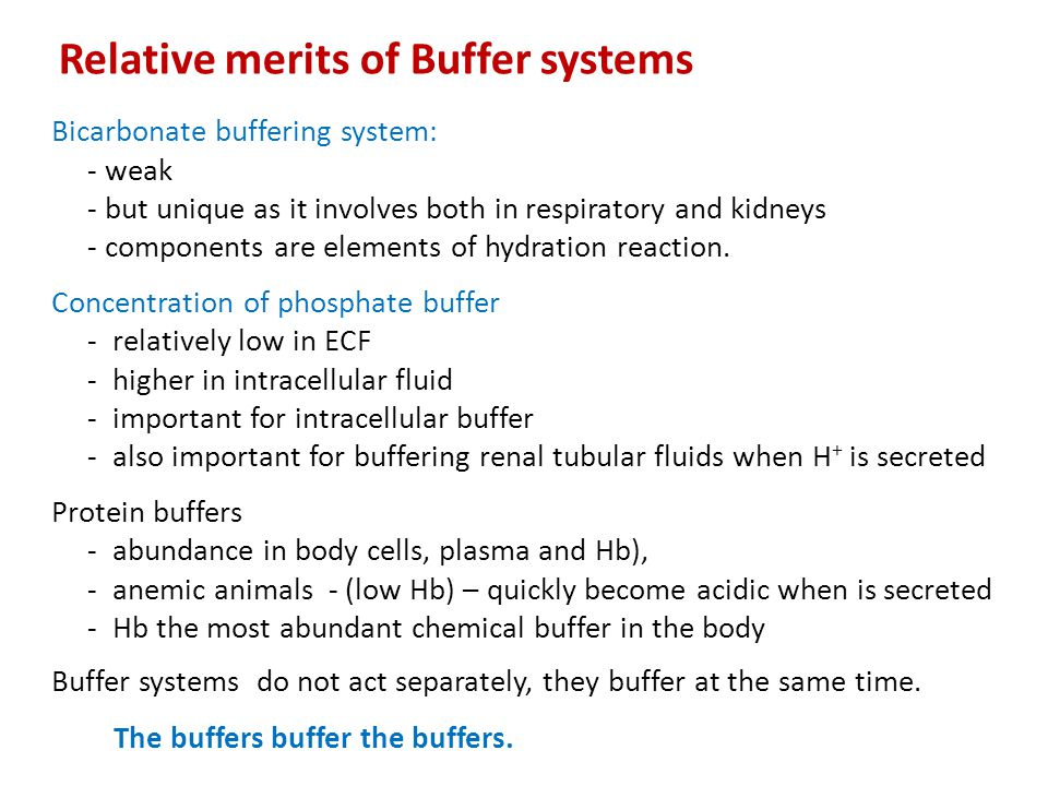 Relative merits of Buffer systems