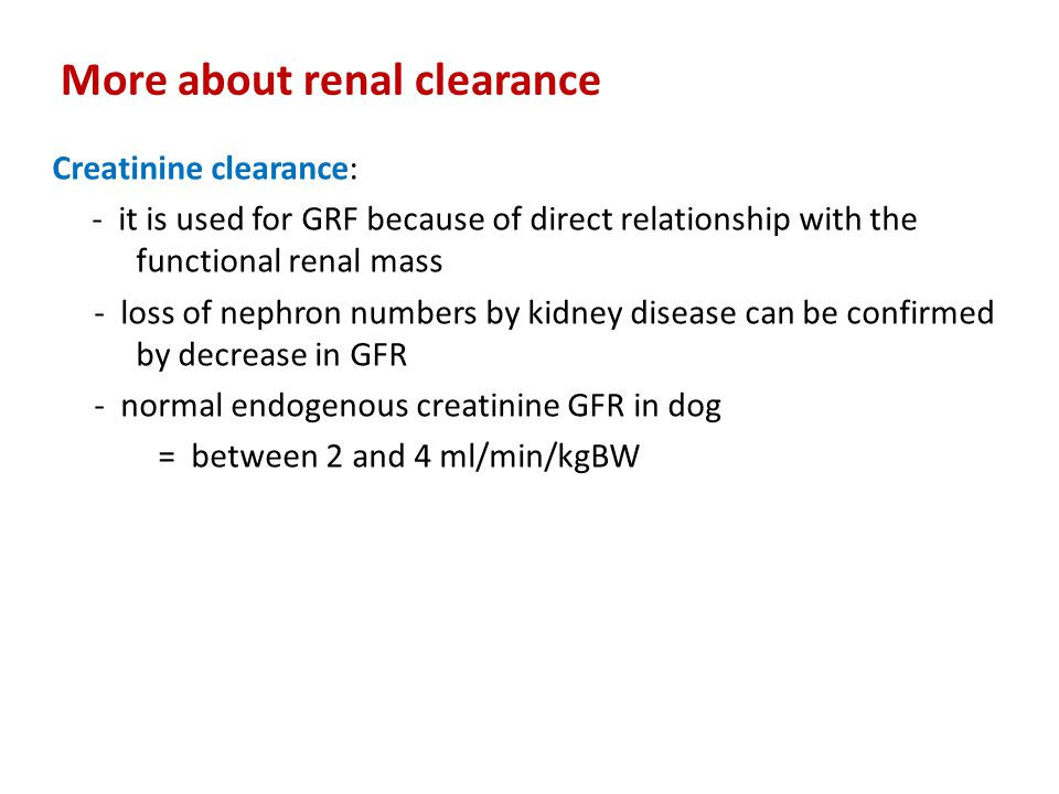 More about renal clearance