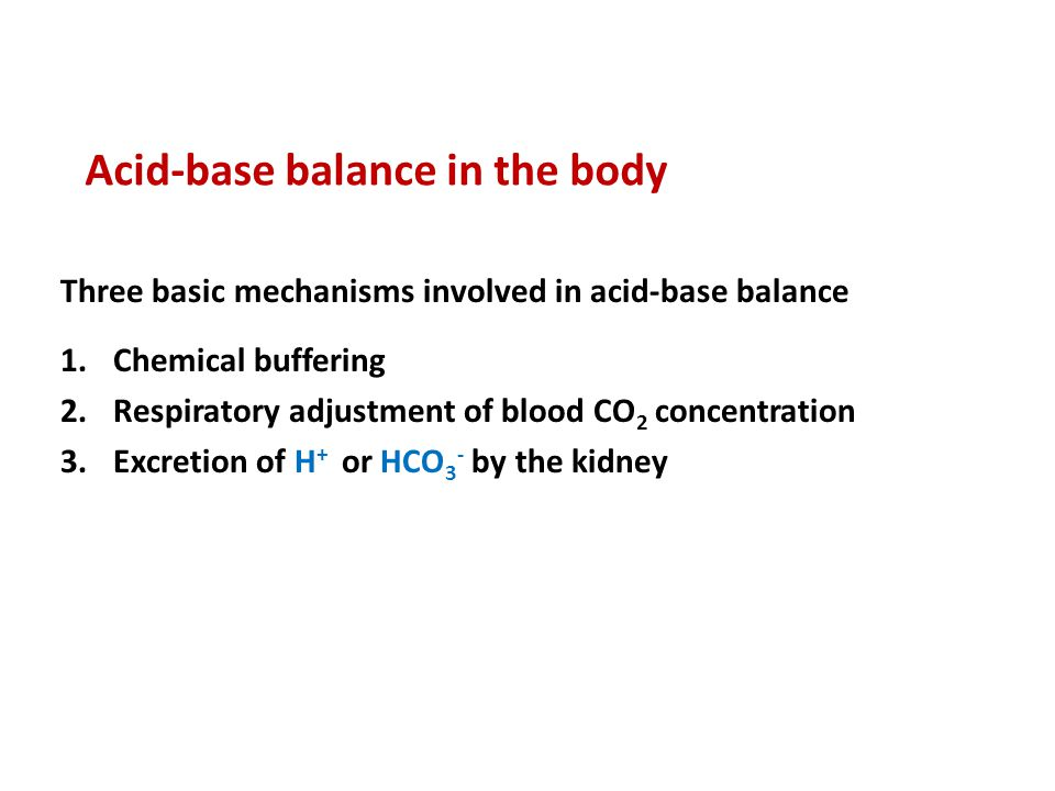 Acid-base balance in the body