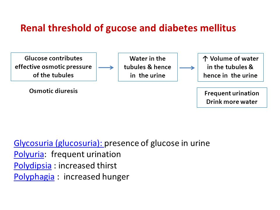 Renal threshold of gucose and diabetes mellitus