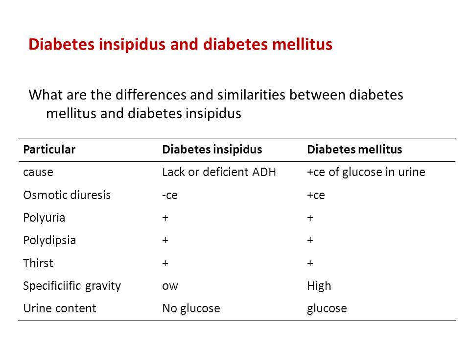 Diabetes insipidus and diabetes mellitus