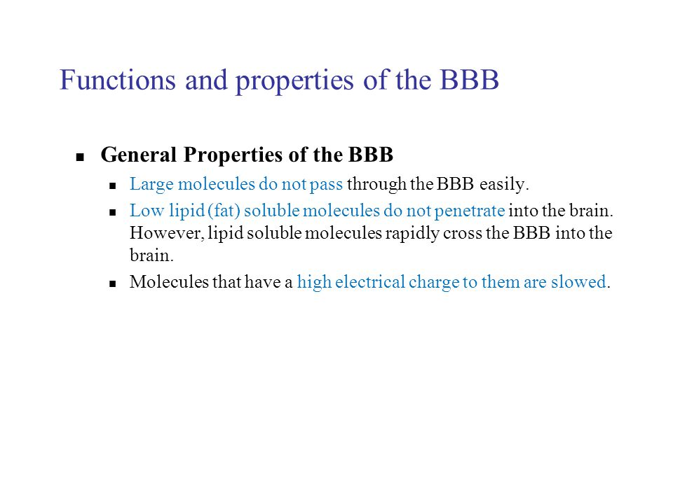 Functions and properties of the BBB