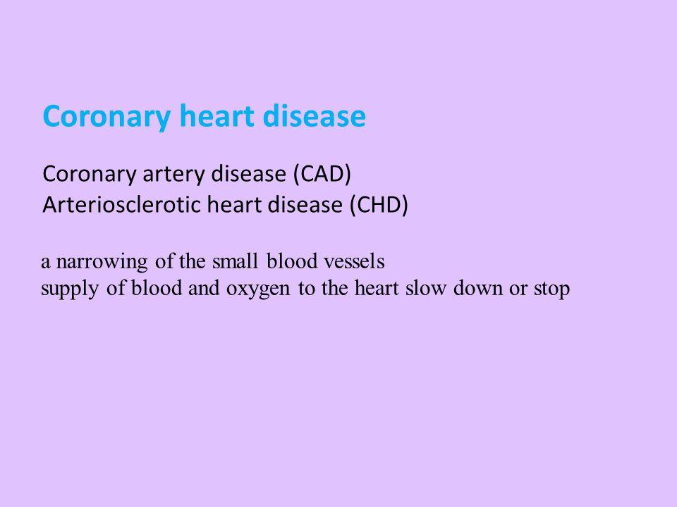 Coronary heart disease Coronary artery disease (CAD) Arteriosclerotic heart disease (CHD)