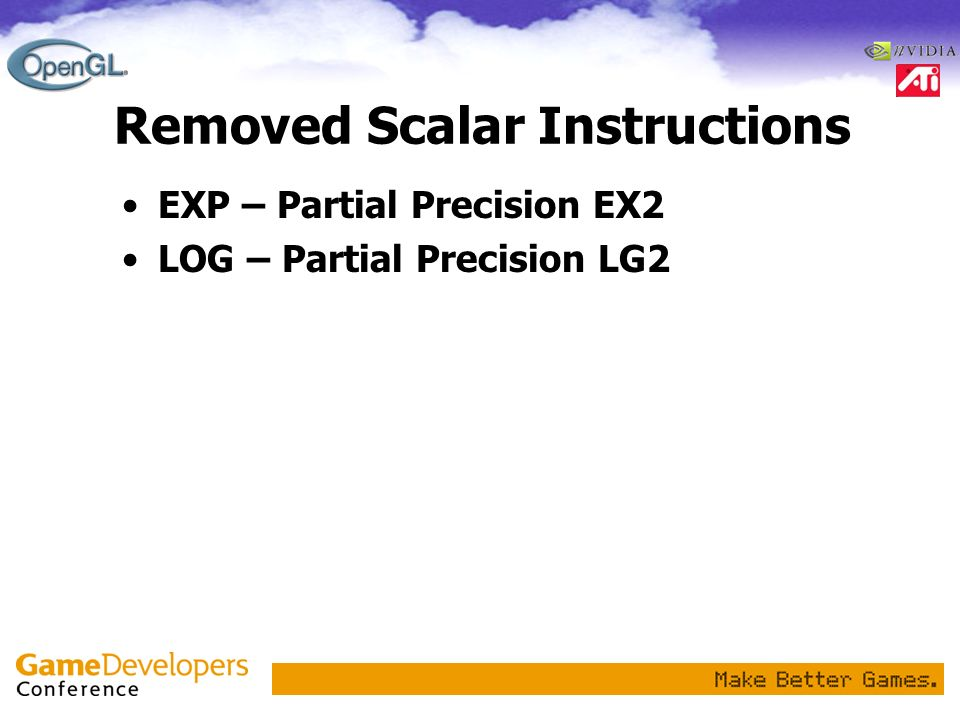 Removed Scalar Instructions