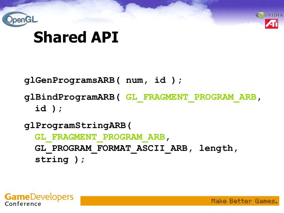 Shared API glGenProgramsARB( num, id );