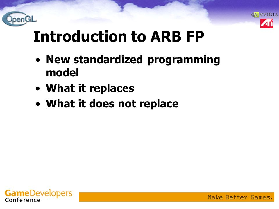 Introduction to ARB FP New standardized programming model