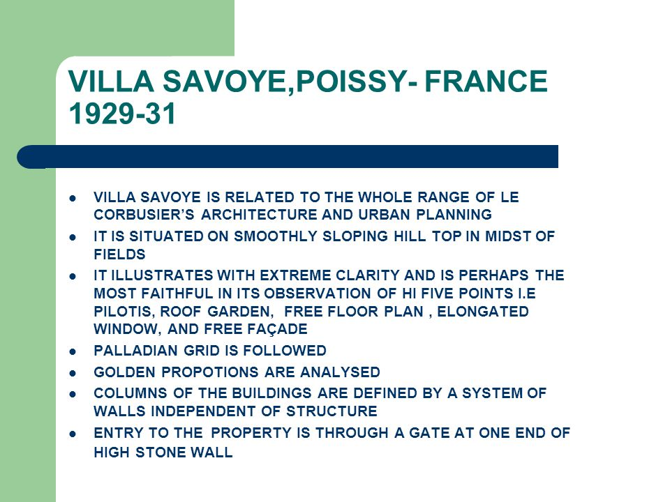 VILLA SAVOYE,POISSY- FRANCE 1929-31