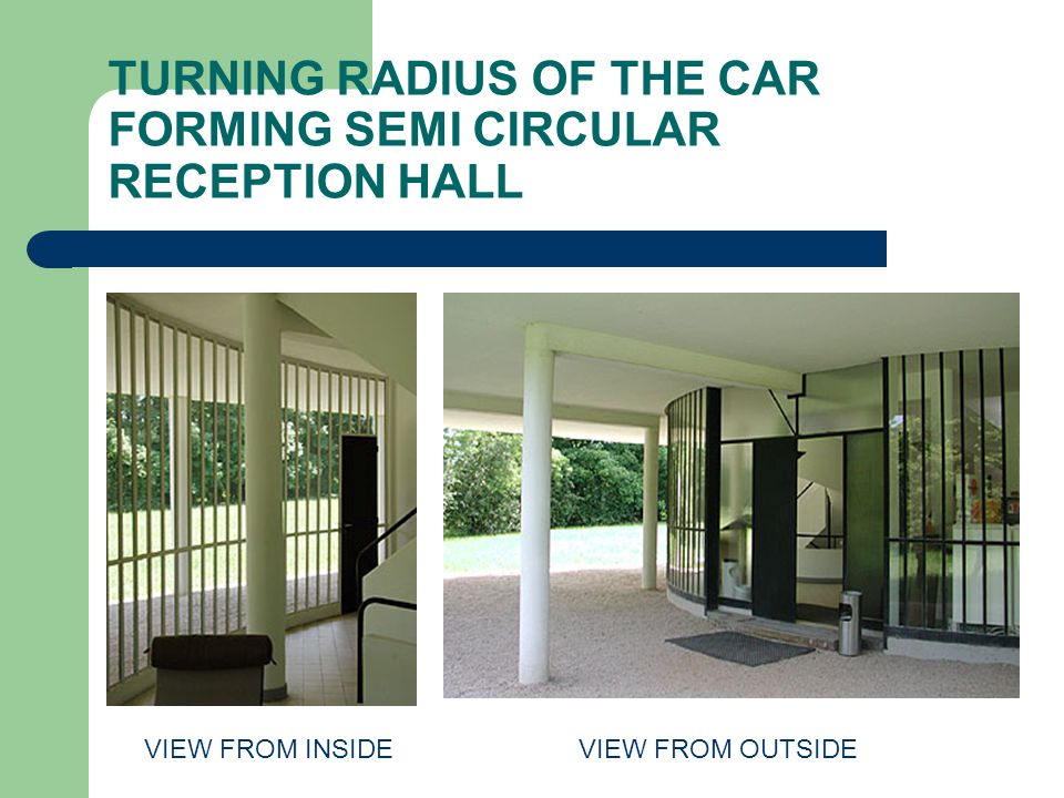 TURNING RADIUS OF THE CAR FORMING SEMI CIRCULAR RECEPTION HALL