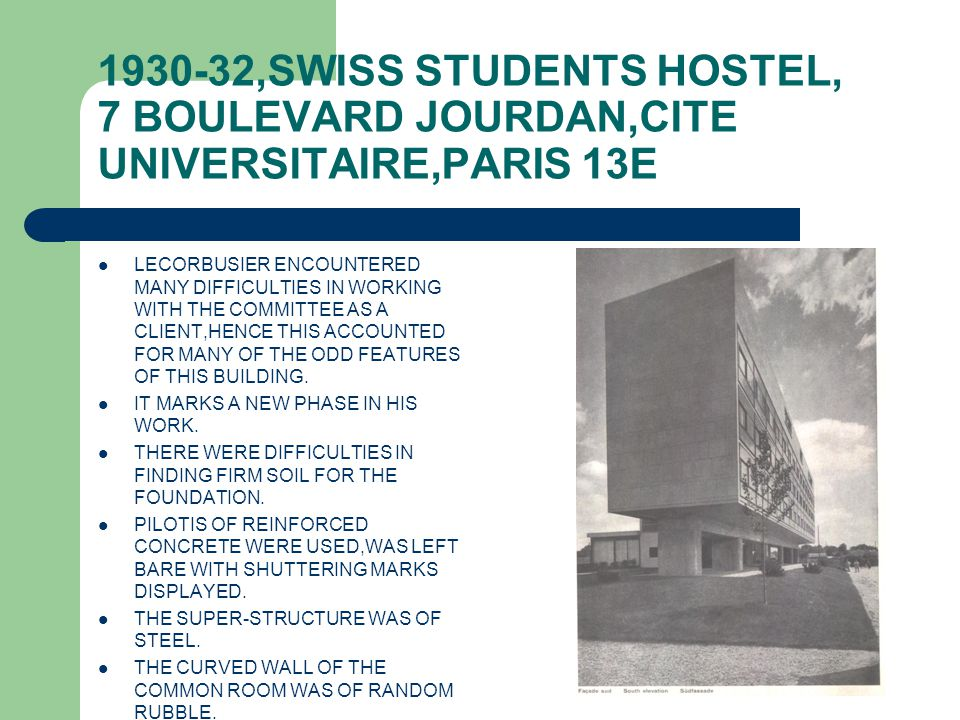 1930-32,SWISS STUDENTS HOSTEL, 7 BOULEVARD JOURDAN,CITE UNIVERSITAIRE,PARIS 13E