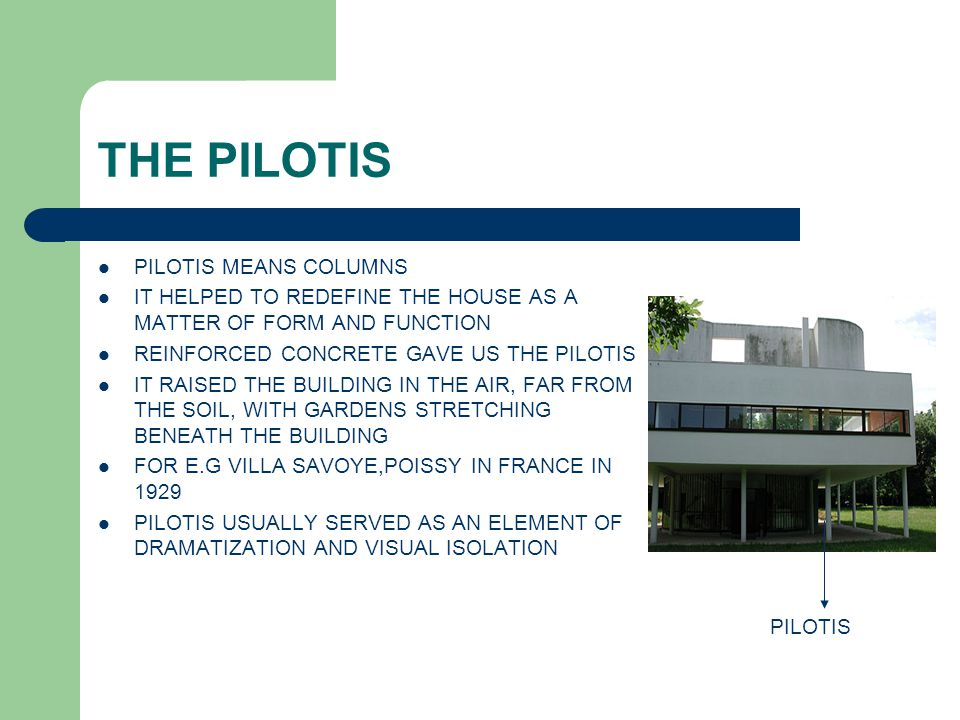 THE PILOTIS PILOTIS MEANS COLUMNS