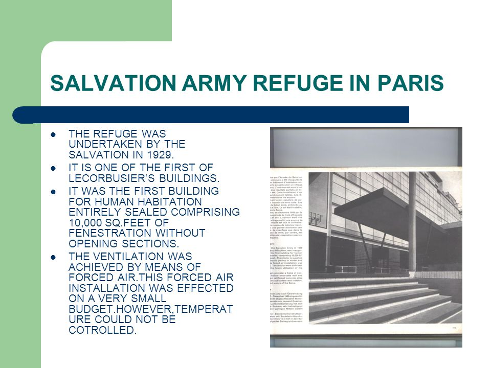 SALVATION ARMY REFUGE IN PARIS