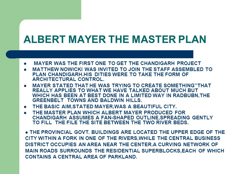 ALBERT MAYER THE MASTER PLAN