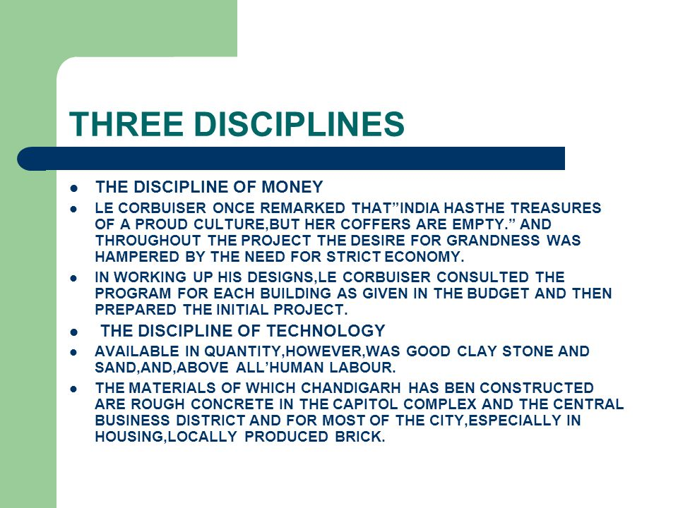 THREE DISCIPLINES THE DISCIPLINE OF MONEY THE DISCIPLINE OF TECHNOLOGY