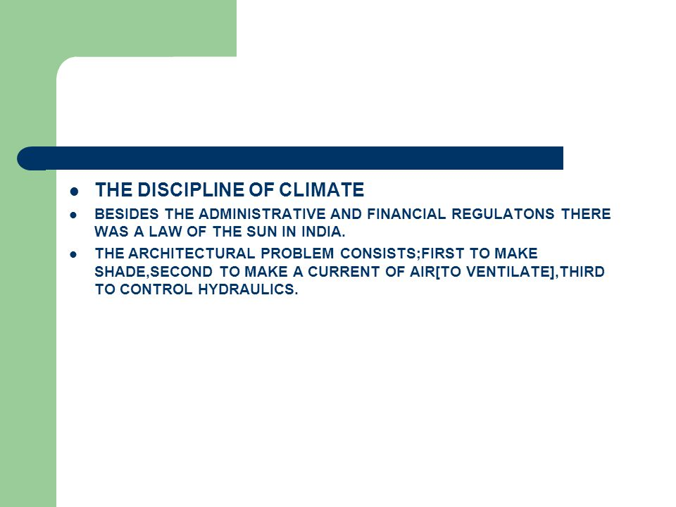 THE DISCIPLINE OF CLIMATE