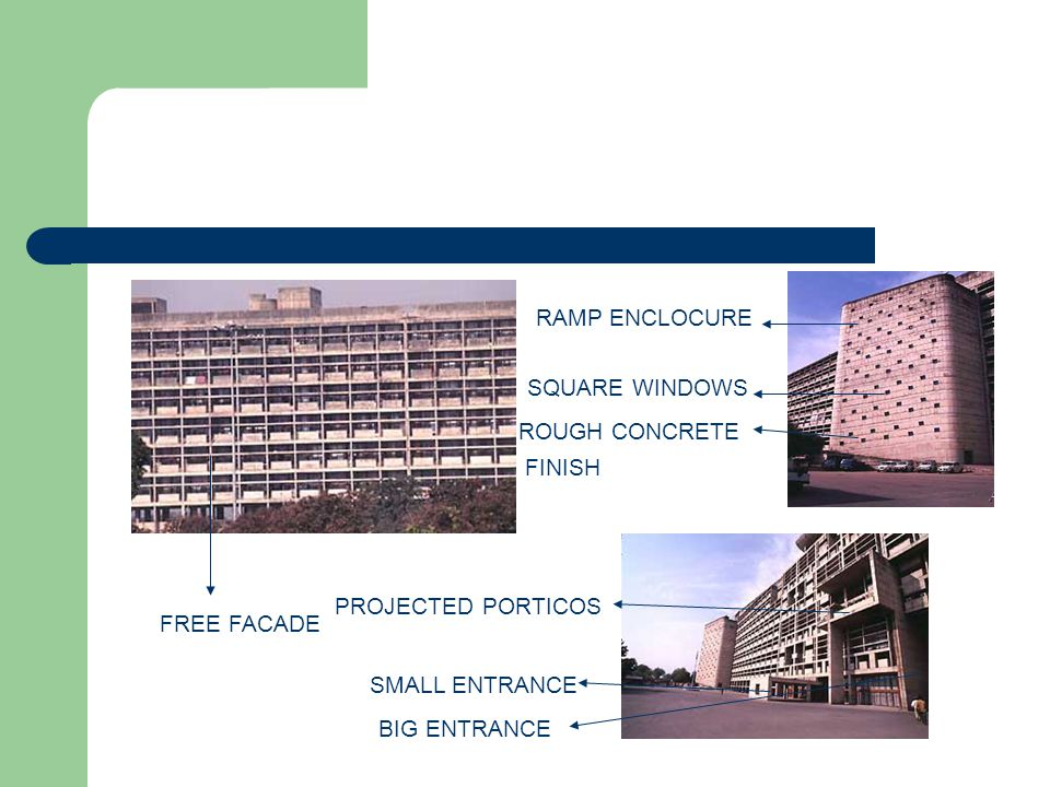RAMP ENCLOCURE SQUARE WINDOWS. ROUGH CONCRETE. FINISH. PROJECTED PORTICOS. FREE FACADE. SMALL ENTRANCE.