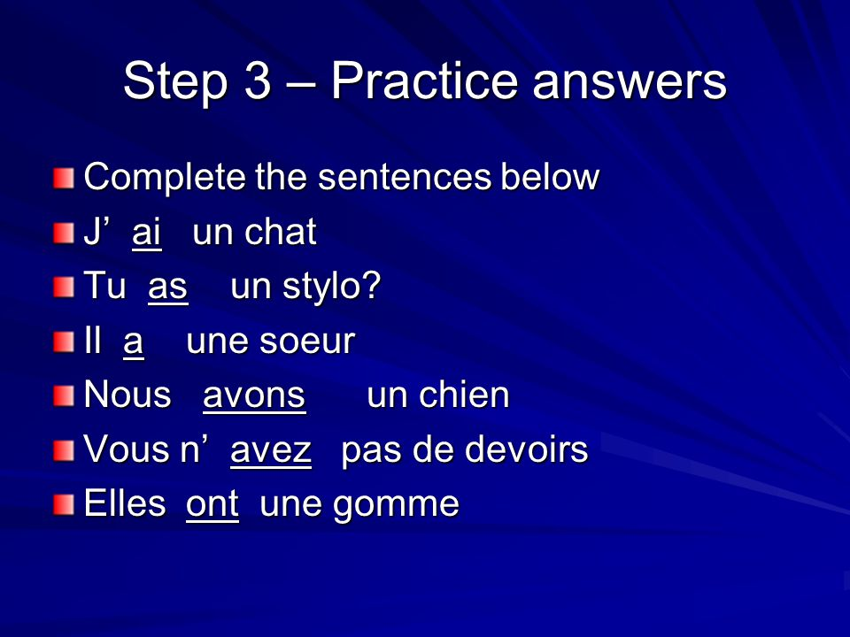 Step 3 – Practice answers