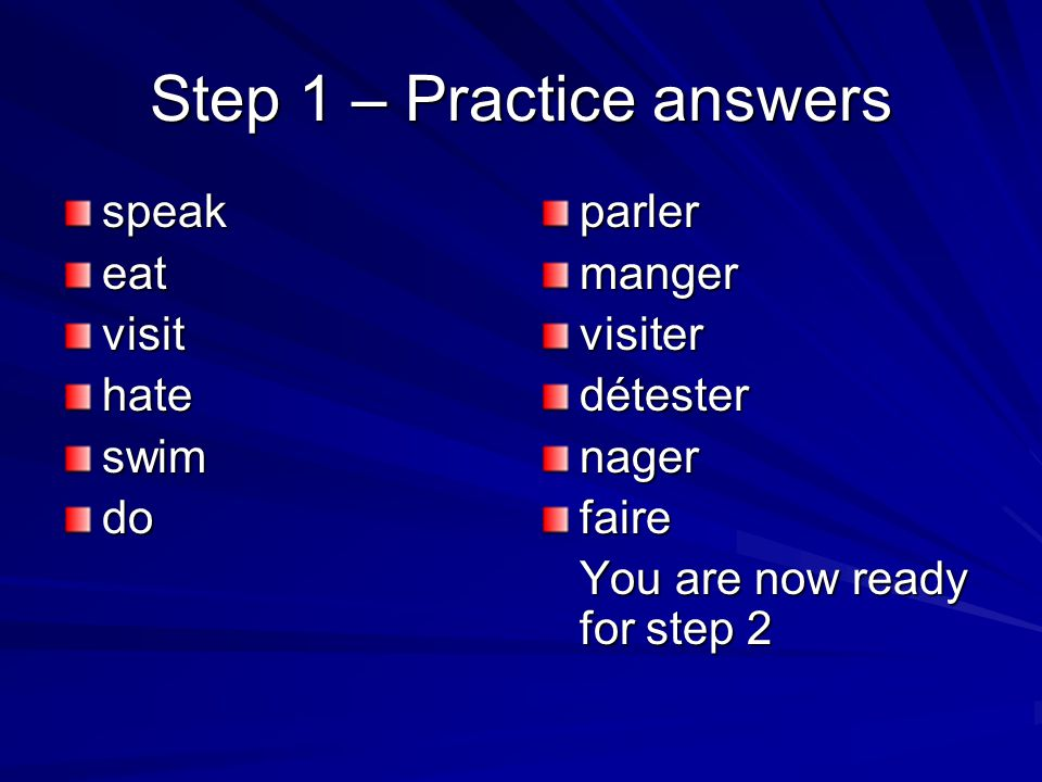 Step 1 – Practice answers