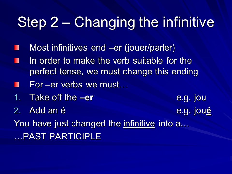 Step 2 – Changing the infinitive