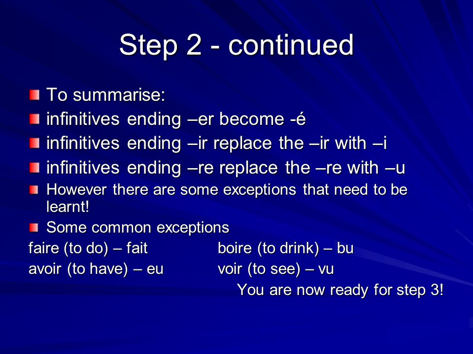 Step 2 - continued To summarise: infinitives ending –er become -é