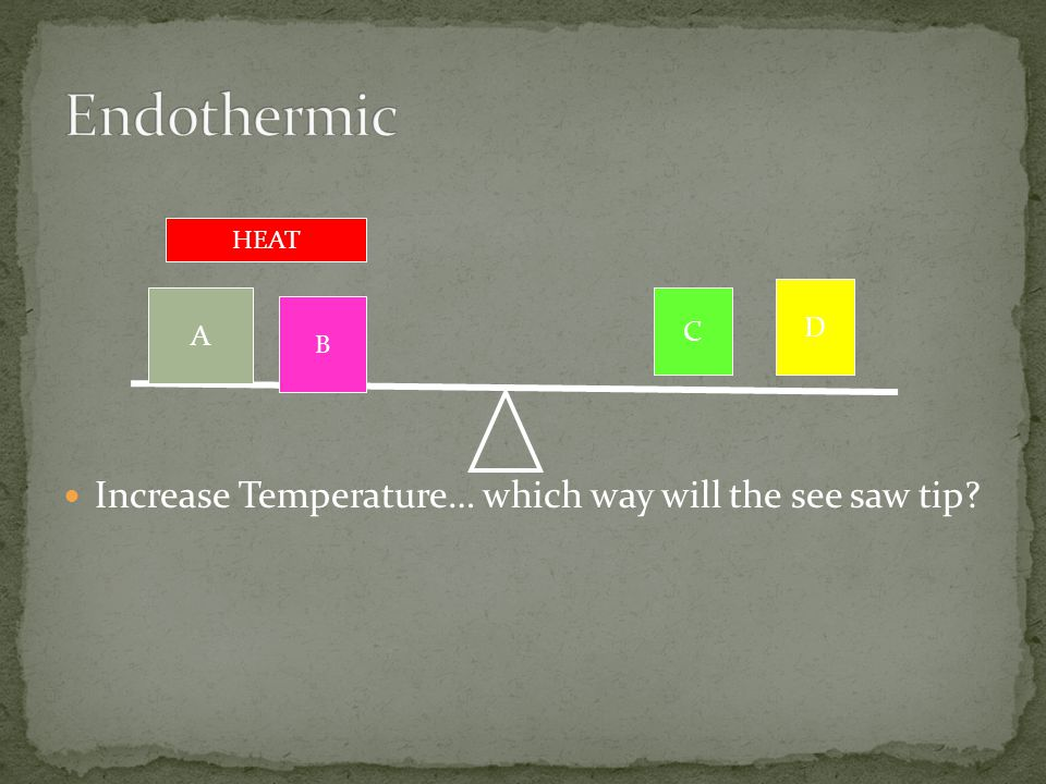 Endothermic Increase Temperature… which way will the see saw tip D A