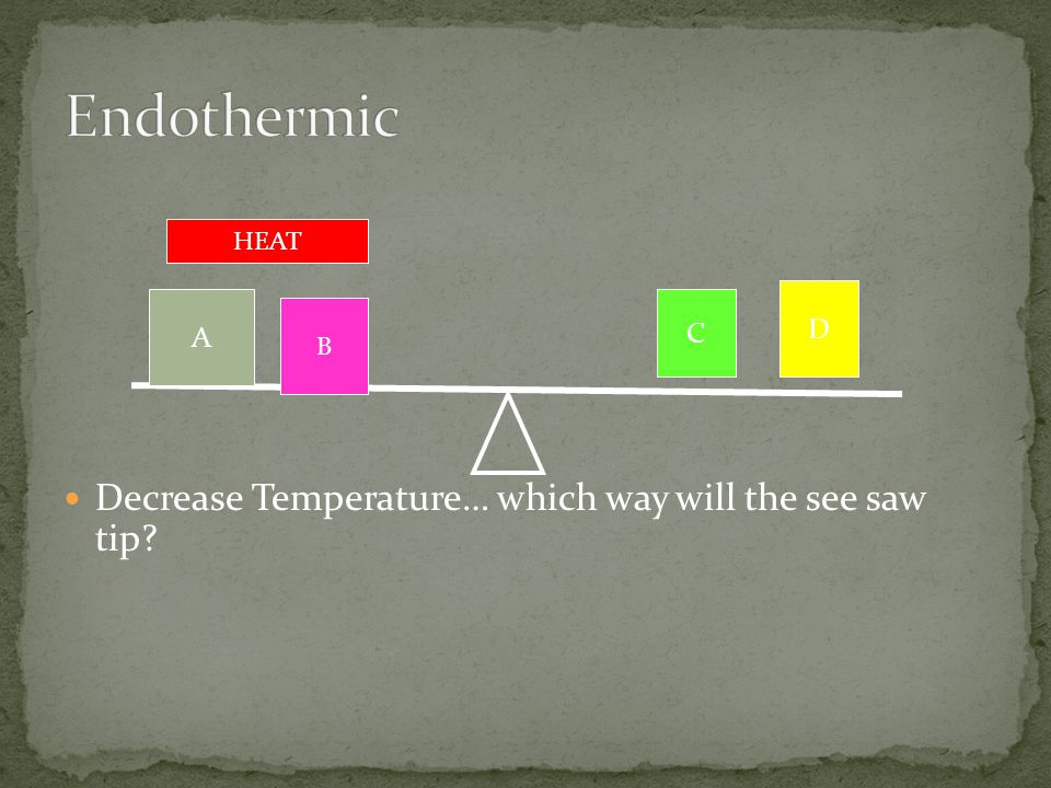 Endothermic Decrease Temperature… which way will the see saw tip D A