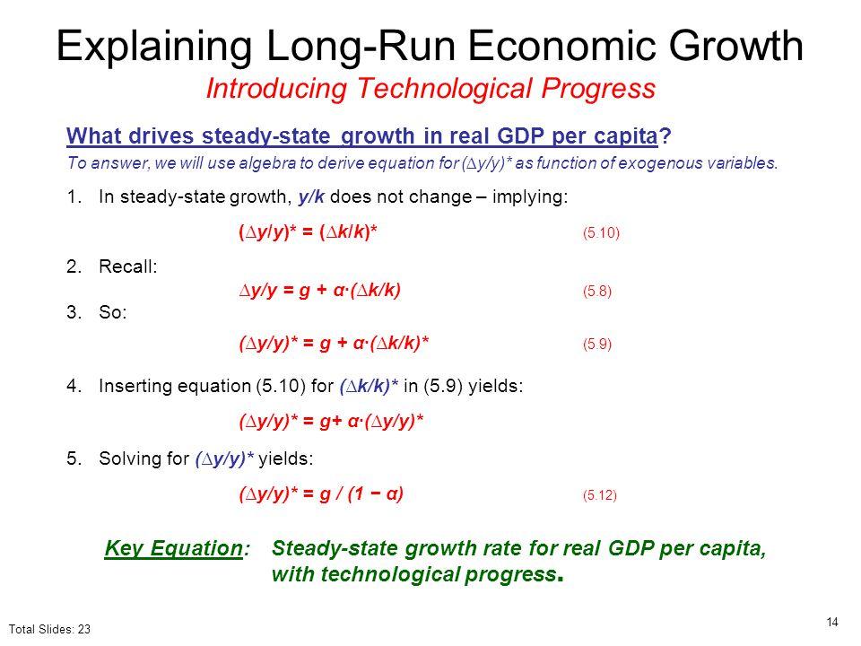 Explaining Long-Run Economic Growth Introducing Technological Progress