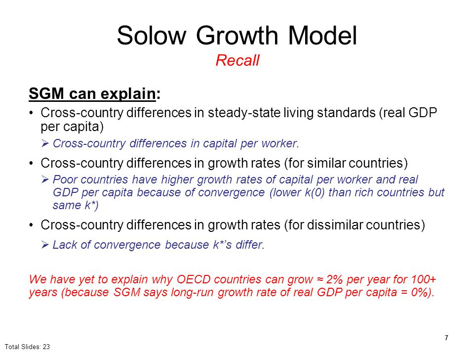 Solow Growth Model Recall