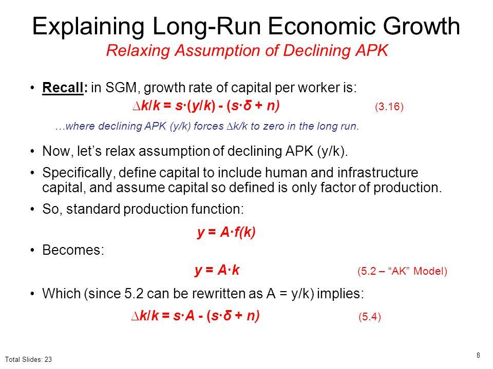 Explaining Long-Run Economic Growth Relaxing Assumption of Declining APK