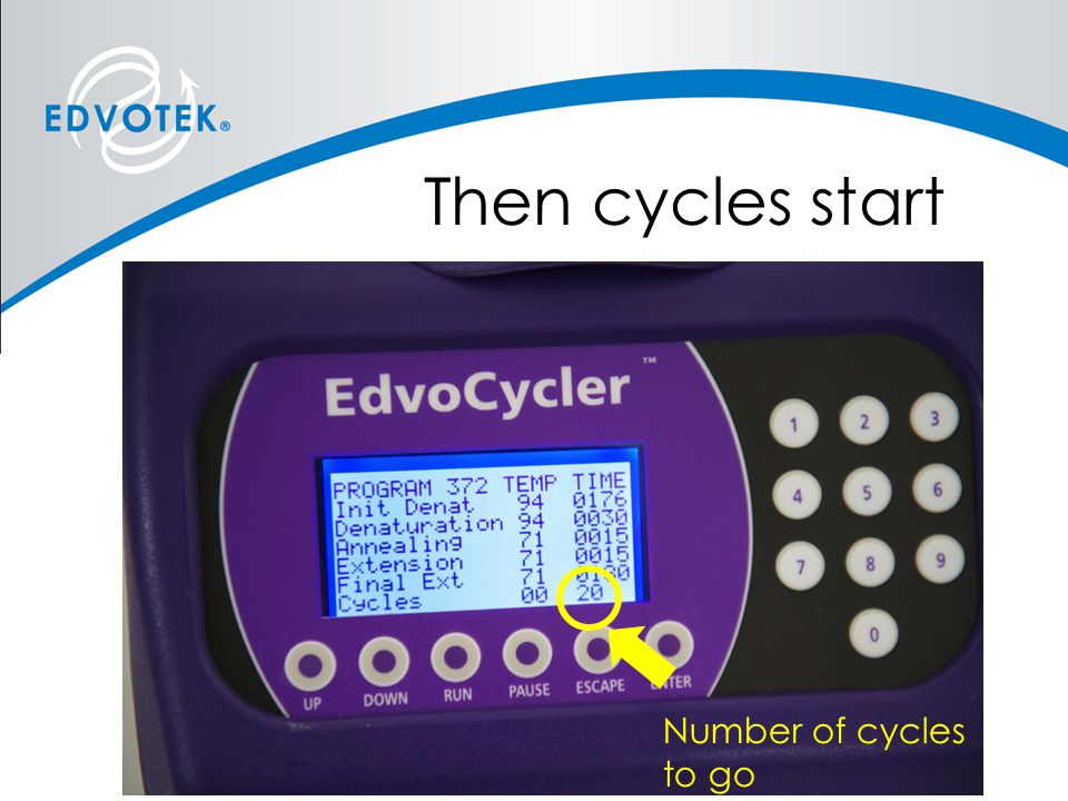 Then cycles start Number of cycles to go