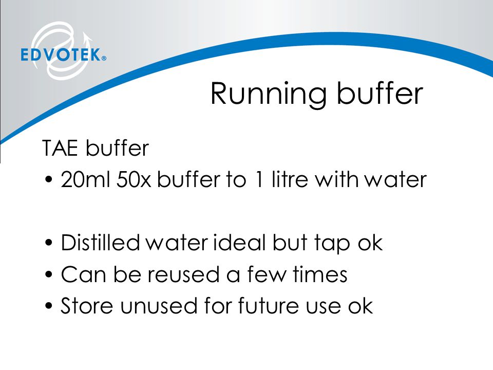 Running buffer TAE buffer 20ml 50x buffer to 1 litre with water