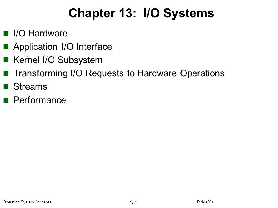 Chapter 13: I/O Systems I/O Hardware Application I/O Interface