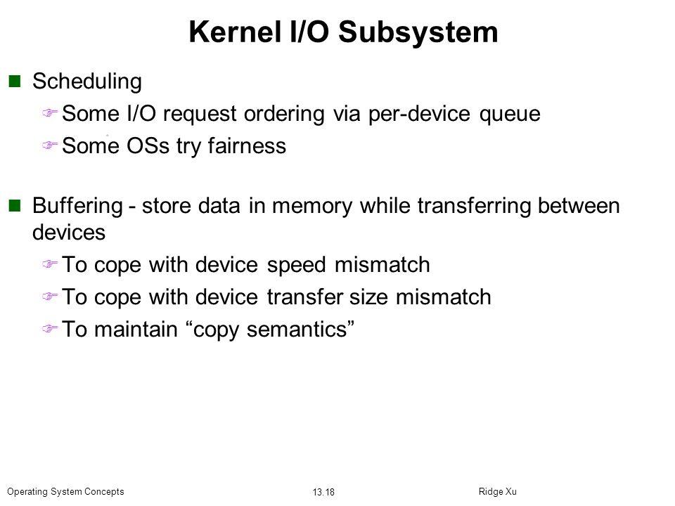 Kernel I/O Subsystem Scheduling
