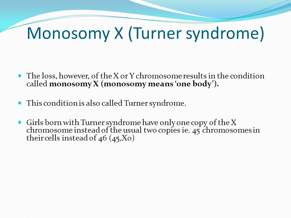 Monosomy X (Turner syndrome)