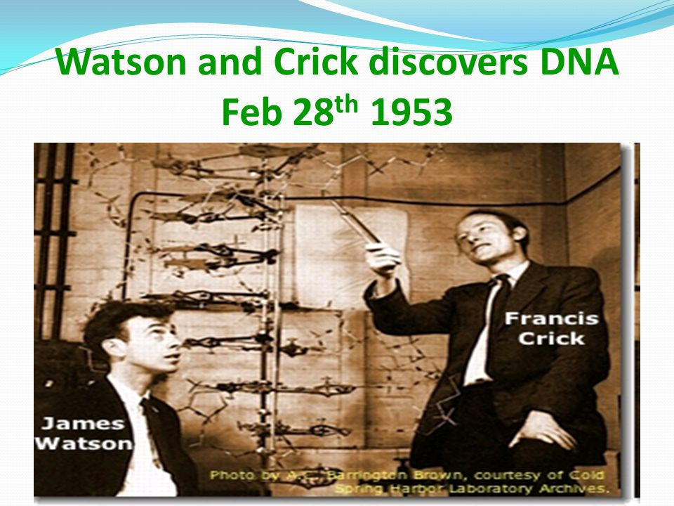 Watson and Crick discovers DNA Feb 28th 1953
